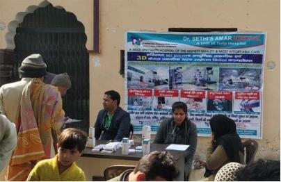 A Free Health camp organised by Tulip Hospital at village Purkhas, Sonepat
